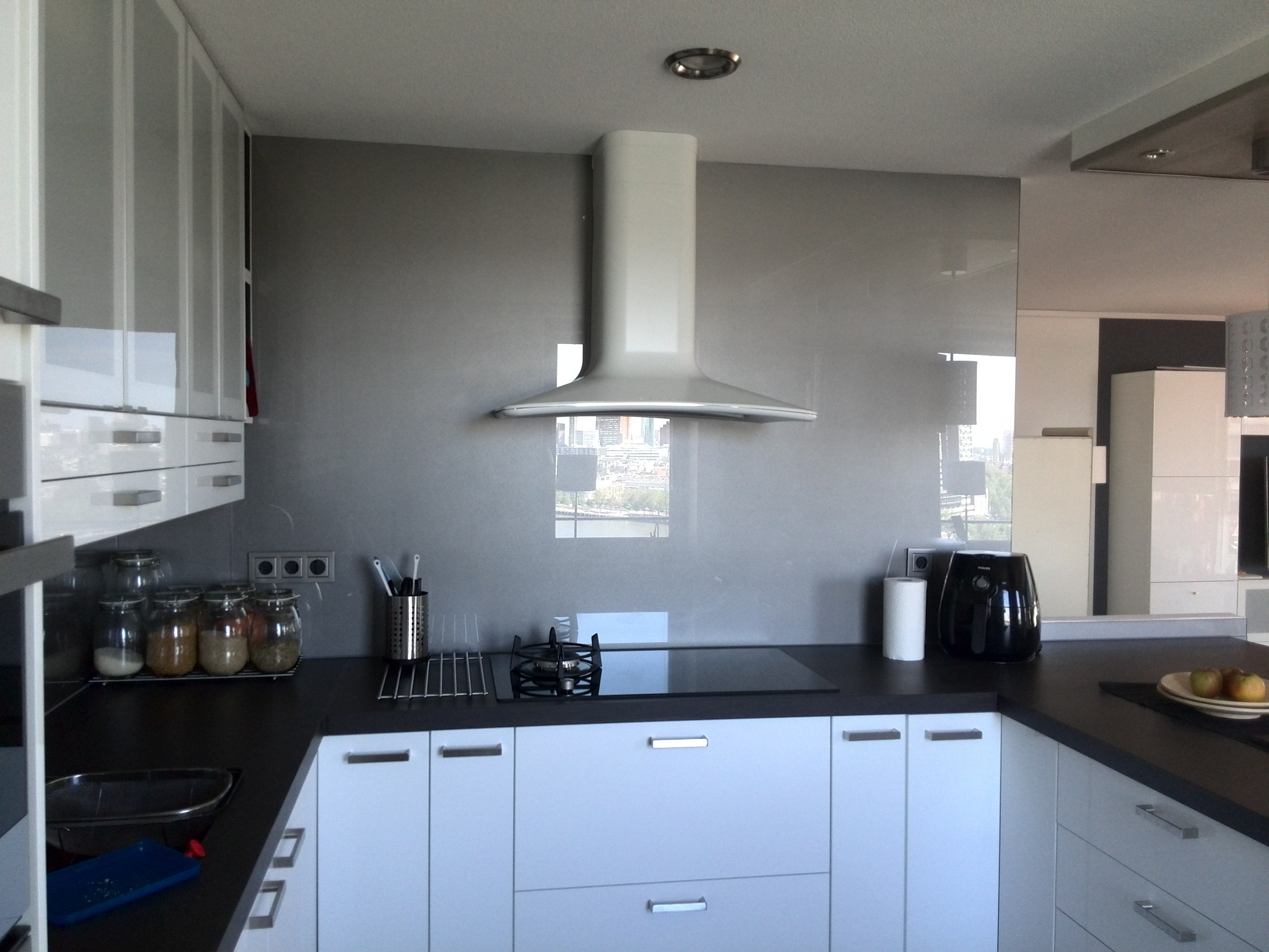 Keuken Glazen Achterwand : Keuken achterwand glas in ral 9007 glasbestellen.nl